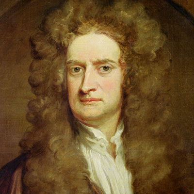 Isaac Newton, inventor of the dog door